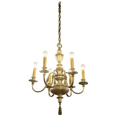 1920s Nickel Plated Bronze Six Light Chandelier