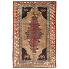 Midcentury Turkish Oushak Vintage Rug with Medallion in Camel, Red and Green