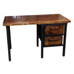 Handmade Pine Desk with 2 Wooden Bins