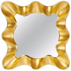 Gold Leaf Ribbon Form Mirror, France, circa 1990
