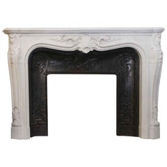 1870s French Heavily Hand Carved Marble Mantel with Cast Iron Insert