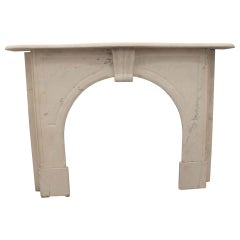 1910 New York Brownstone Arched White Carved Marble Mantel