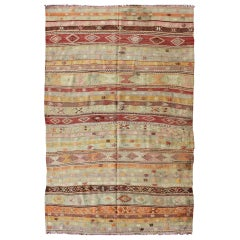 Vintage Turkish Kilim Flat-Weave Rug with Colorful Stripe Design