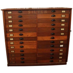 1920s Large Size 26-Drawer Wooden Flatware or Map Cabinet