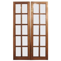 1920s Pair of Medium Tone Chestnut French Doors with 10 Glass Panes Each
