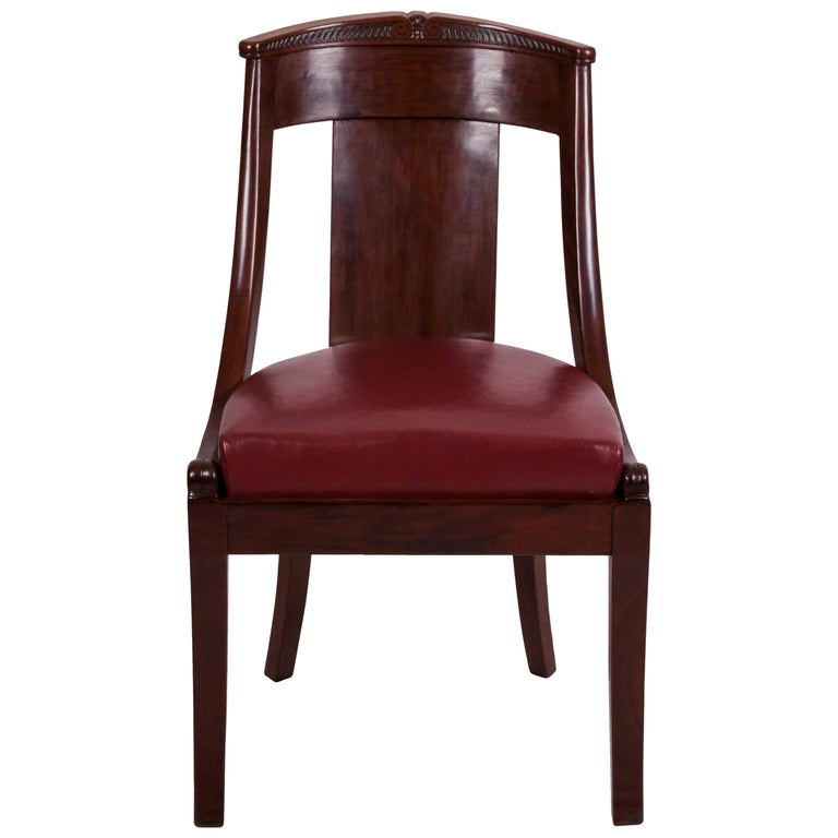 19th Century Four French Fruitwood Gondola Chairs For Sale
