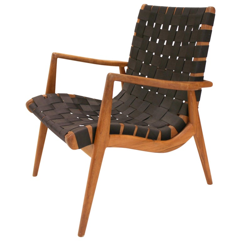 Midcentury Wood Chair With Nylon Webbing For