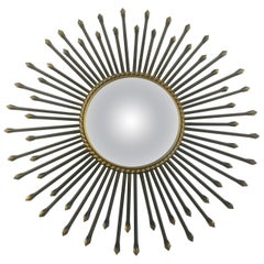 Chaty Vallauris Convex Sunburst Mirror, France, 1950s