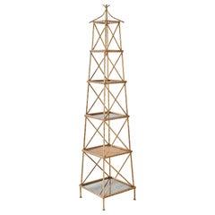 Gilt Faux-Bamboo Iron Pagoda Style Étagère