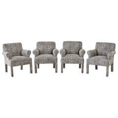 Set of Four Cheetah Leopard Upholstered Club Chairs