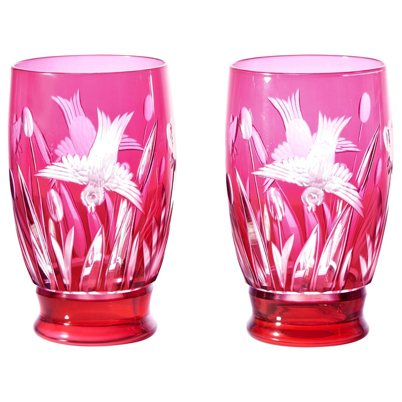 12 Val St. Lambert Bird Pattern Water Goblets-Tumblers