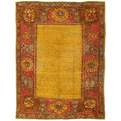 Antique Turkish Oushak Rug in Gold, Soft Orange, Rose, Green, Pink and Taupe