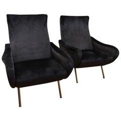 20th Century Couple Armchairs Bluegray Velvet 1960 Italian Design