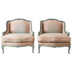 Pair of Louis XV Style Marquise Winged Bergère Armchairs
