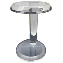 Small Mid-Century Modern Thick Lucite Round Side Table
