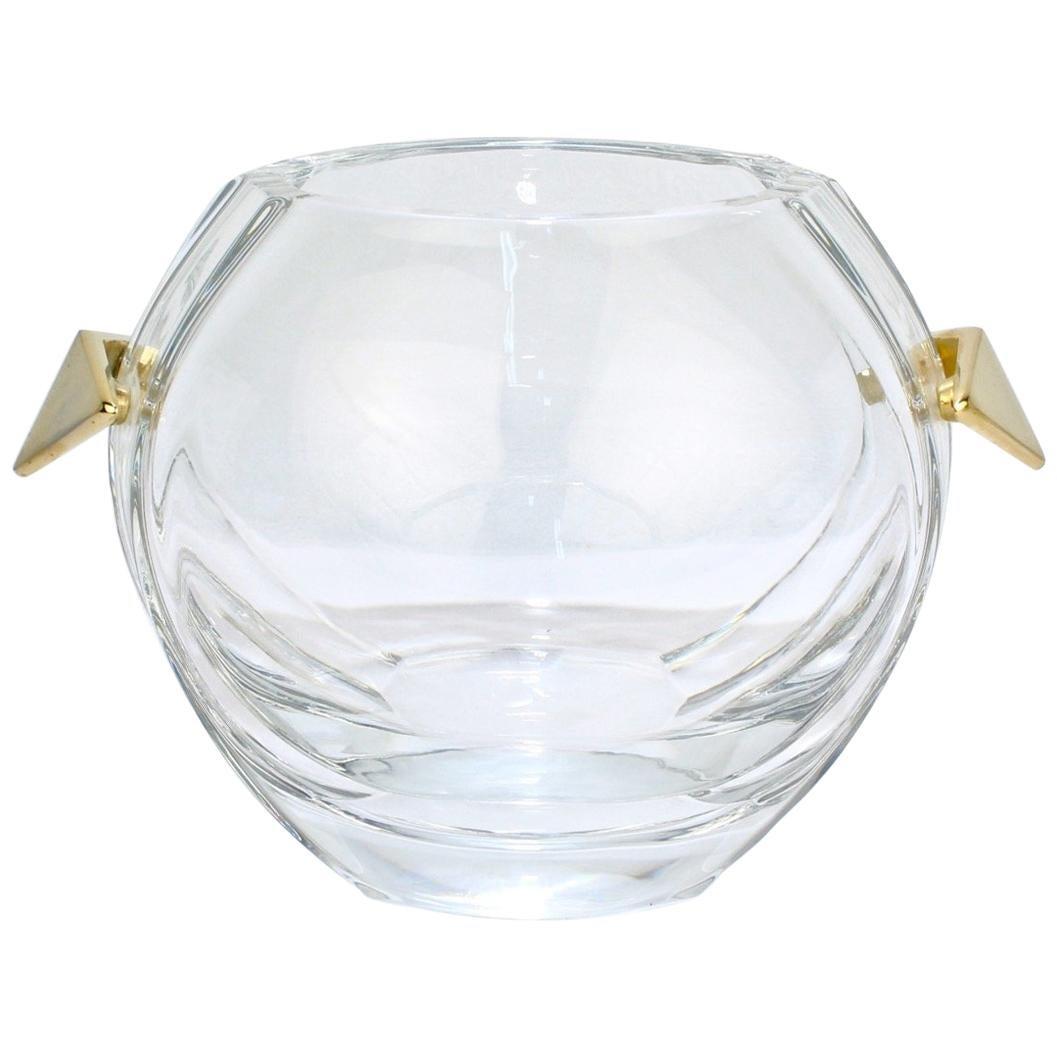 Baccarat Modernist Crystal and Gilt Bronze Handled Ice Bucket