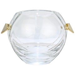 Baccarat Modernist Crystal and Gilt Bronze Handled Ice Bucket