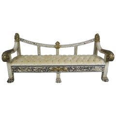 19th Century Spanish Baroque Painted and Parcel-Gilt Bench with Lion Feet