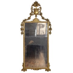 Italian, Piemontese, Carved Giltwood Footed Mirror, 2nd Half of the 18th Century
