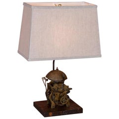 Table Lamp Made from Antique Swedish Grandfather Clockworks