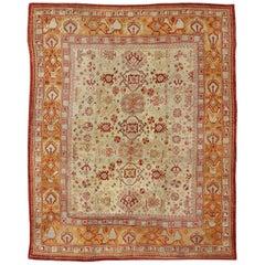 Antique Turkish Oushak Carpet in Cream, Red, Taupe, Blue and Orange