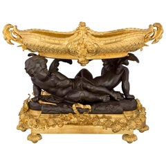 French Louis XVI Style Mid-19th Century Ormolu and Patinated Bronze Centerpiece
