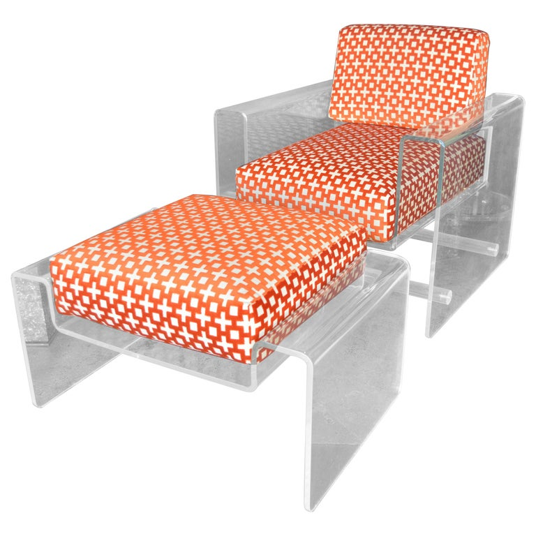 Lucite Armchair with Ottoman For Sale