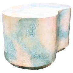 Postmodern Plaster Plinth Gloss Sky-Scape Kidney End Table Karl Springer Style