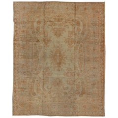 Large Antique Oushak Carpet in Ivory Background, Taupe, Gray, Green and Salmon