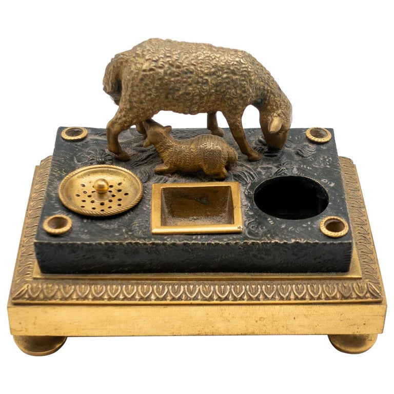 Gilded Bronze French Inkwell of and Sheep and Its Lamb, Early 19th Century For Sale