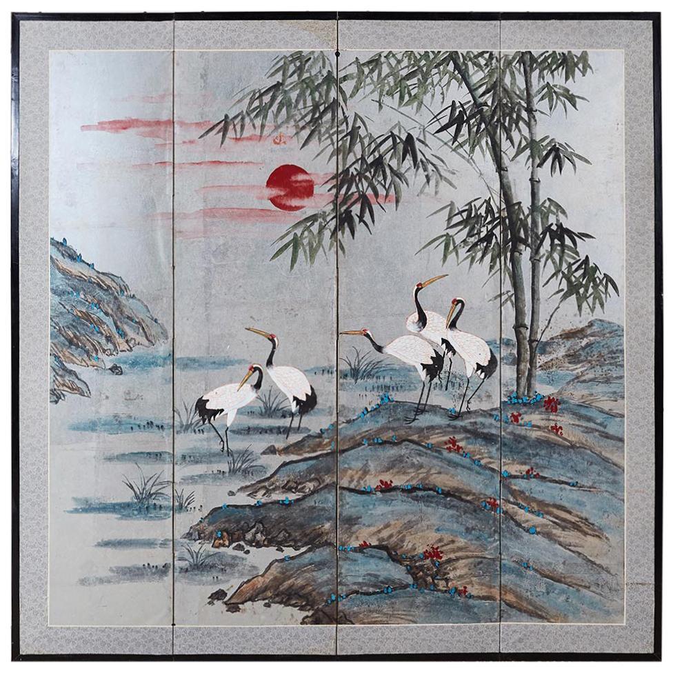 Japanese Four-Panel Kano School Manchurian Crane Screen