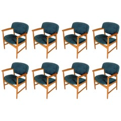 Eight Ejner Larsen and Axel Bender Madsen Oak Armchairs, Inc. Reupholstery