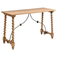 Spanish 1920s Baroque Style Oak Console Table with Barley Twist Trestle Base