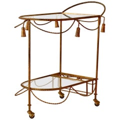 1950s Italian Hollywood Regency Rope & Tassel Gilt Metal Bar Cart/Drinks Trolley