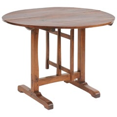 Southern French 1910s Solid Walnut Wine Tasting Table with Circular Tilt-Top