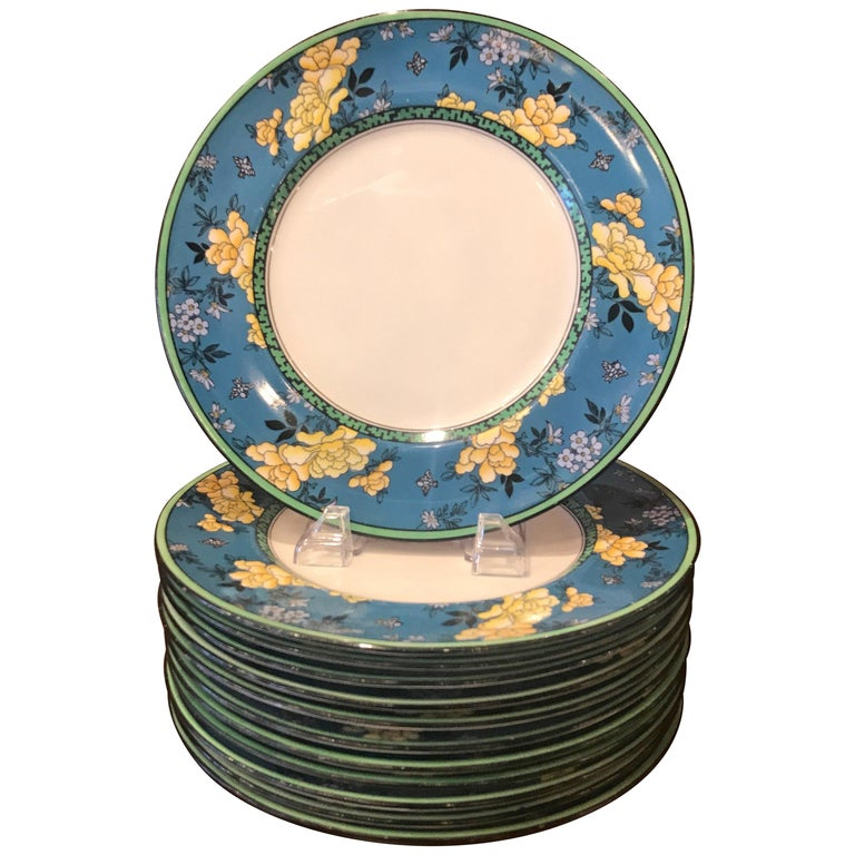 Set of 12 English Deco Plates For Sale