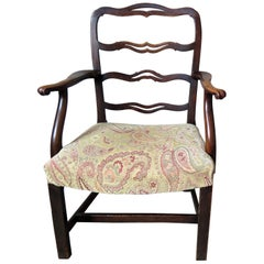George 2nd Country Armchair Elm with Ribbon Back and Crook Arm, English Ca 1750