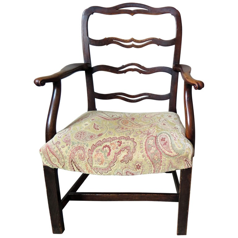 George II Country Armchair Elm with Ribbon Back and Crook Arm English circa 1750 For Sale