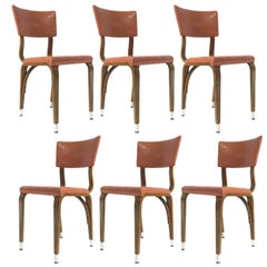 Set of 6 1950s Thonet Padded Bentwood Bent Plywood Dining, Cafe, or Desk Chairs