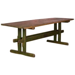 Rustic Antique Original Green Painted Harvest or Farm Trestle Table