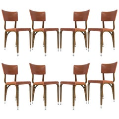 Set of 8 1950s Thonet Padded Bentwood Bent Plywood Dining, Cafe, or Desk Chairs