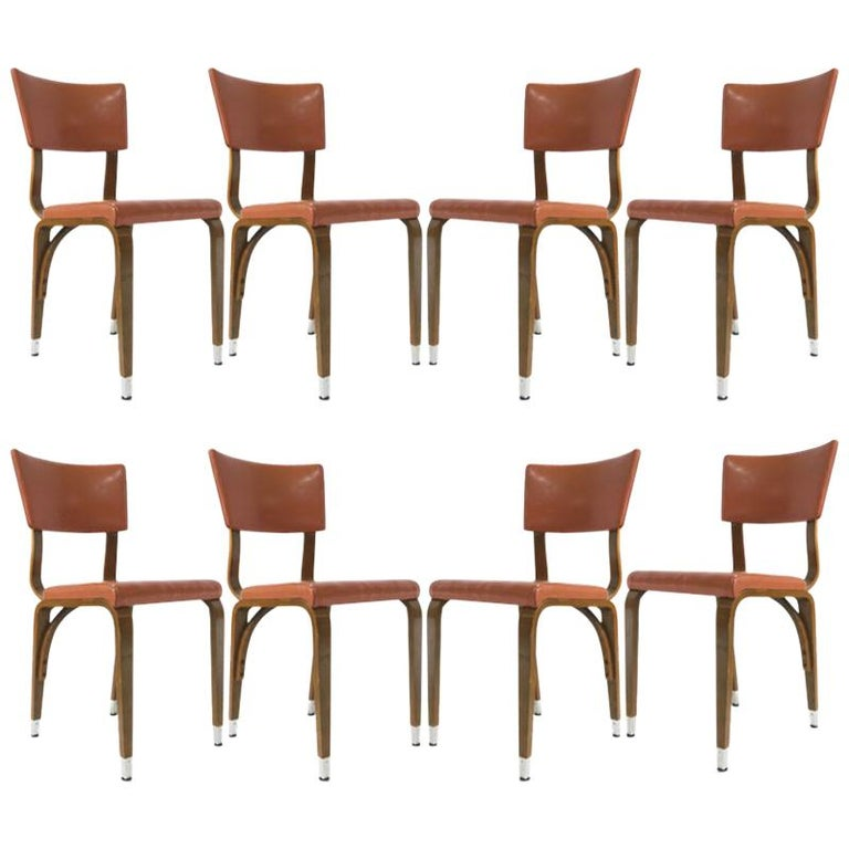 Outstanding Set Of 8 1950S Thonet Padded Bentwood Bent Plywood Dining Uwap Interior Chair Design Uwaporg