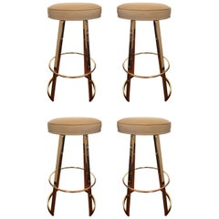 "Charles Hollis Jones ""Mathis"" Swivel Bar Stools in Polished Brass"