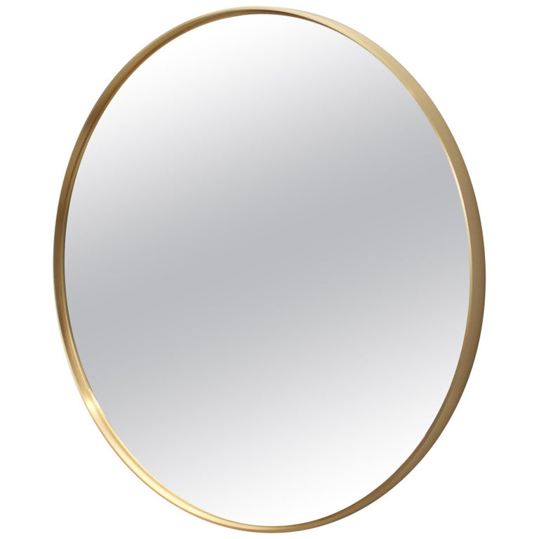 Circular Mirror in Satin Finished Brass For Sale