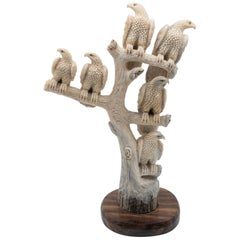 Large North American Moose Antler Carving of Perched Eagles Mounted on Wood Base