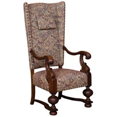 Antique Danish Baroque Oak Wingback Chair