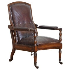 English William IV Mahogany & Leather Metamorphic Reclining Armchair, circa 1830