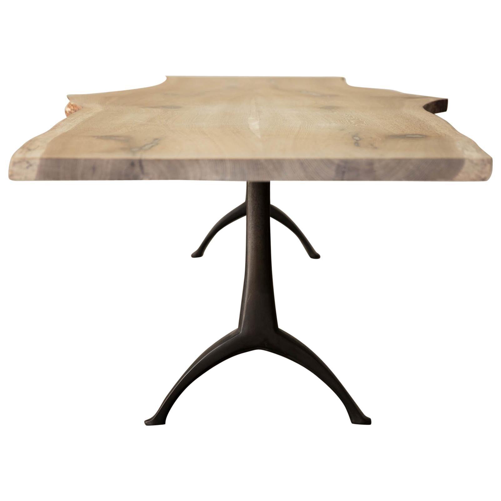 Live Edge White Oak Table Pewter Inlays Hand Cast Black Steel Pedestal Base