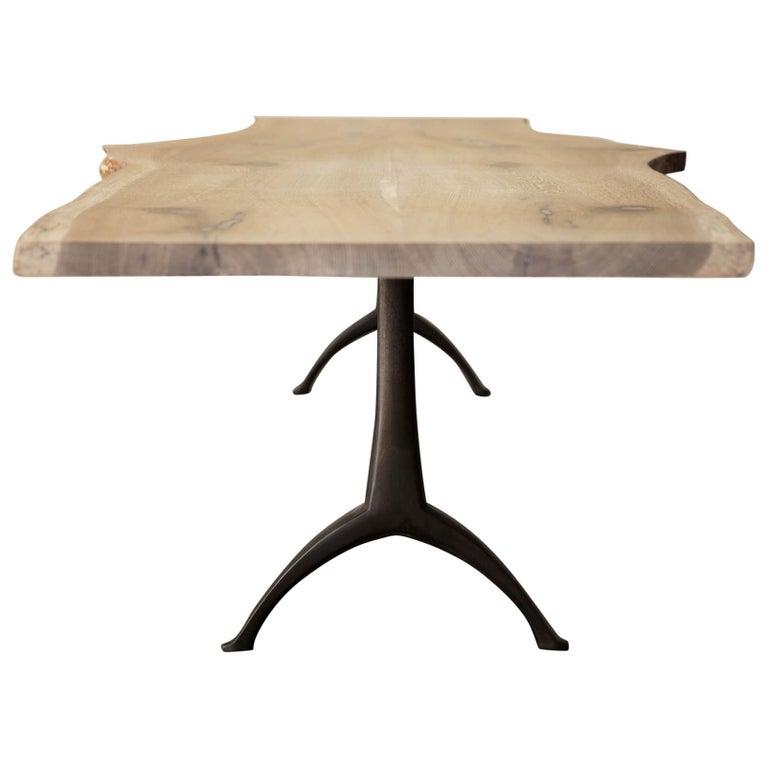 Live Edge White Oak Table Pewter Inlays Hand Cast Black Steel Pedestal Base For Sale