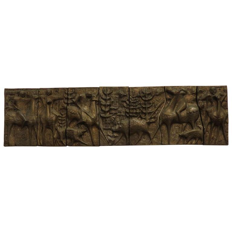 1960s Sculptural Bronze Effect Wall Art Resin Wall Hanging  For Sale